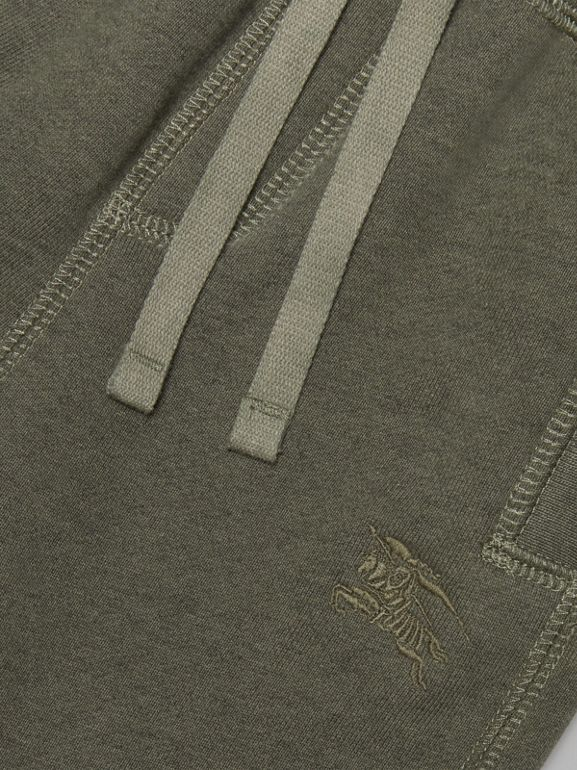 Embroidered Logo Cotton Trackpants in Olive Melange - Children | Burberry Canada - cell image 1