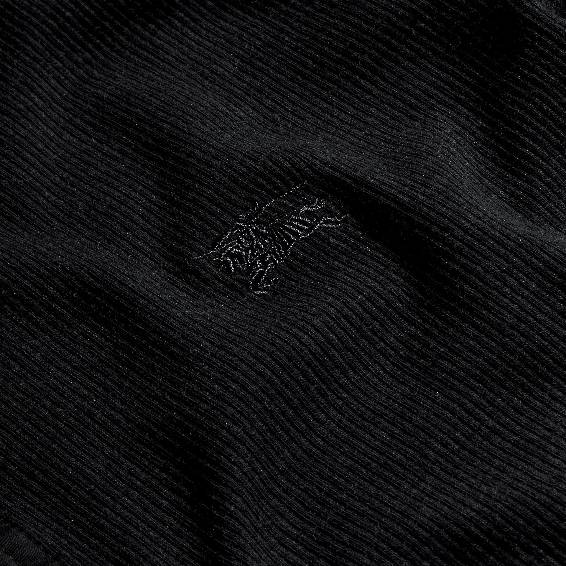 Black Ribbed Cotton Wool Henley Top Black - gallery image 2