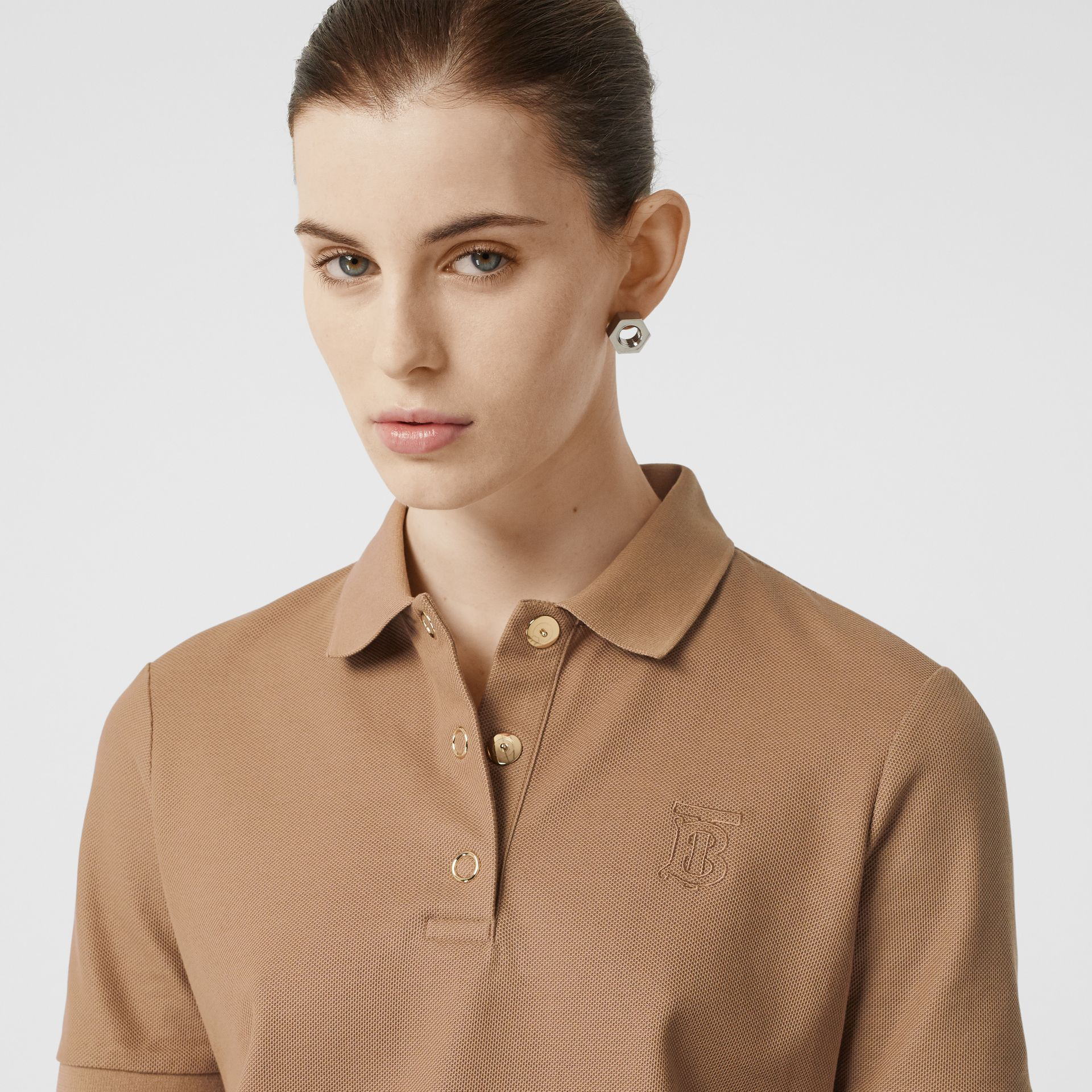 Monogram Motif Cotton Piqué Polo Shirt in Camel - Women | Burberry - gallery image 1