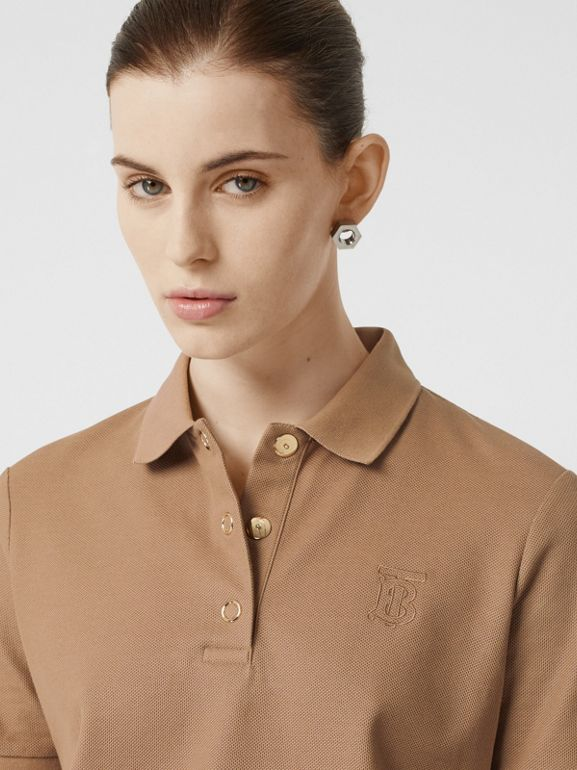 Monogram Motif Cotton Piqué Polo Shirt in Camel - Women | Burberry United States - cell image 1