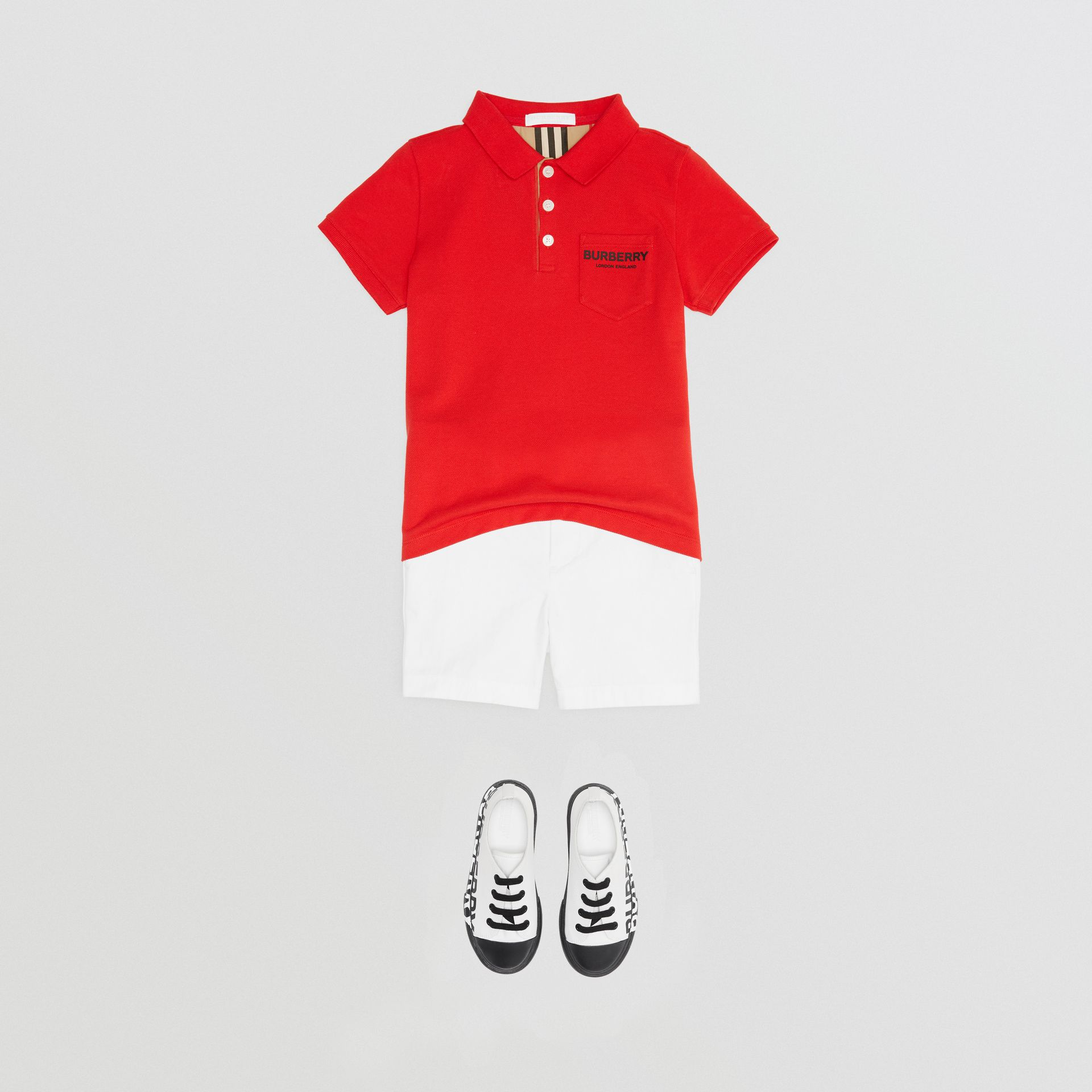 Icon Stripe Placket Cotton Piqué Polo Shirt in Bright Red - Boy | Burberry - gallery image 2