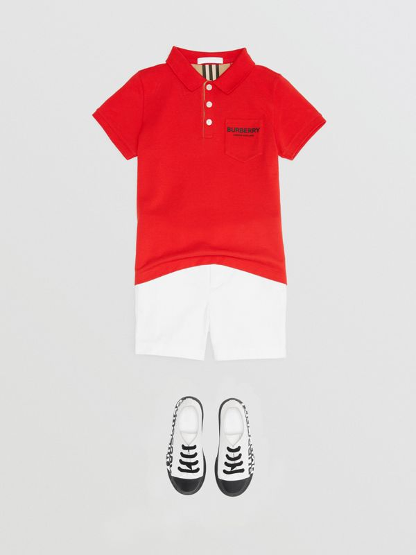 Icon Stripe Placket Cotton Piqué Polo Shirt in Bright Red - Boy | Burberry - cell image 2