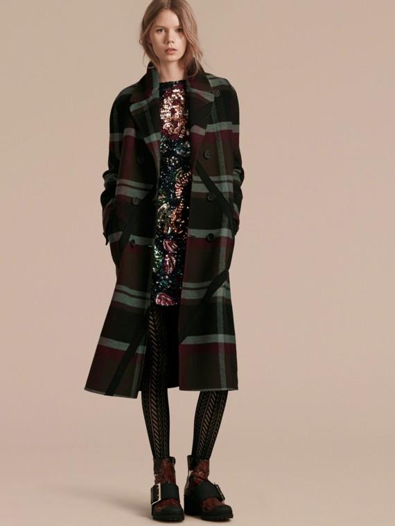 Unlined Tartan Wool Double-breasted Coat