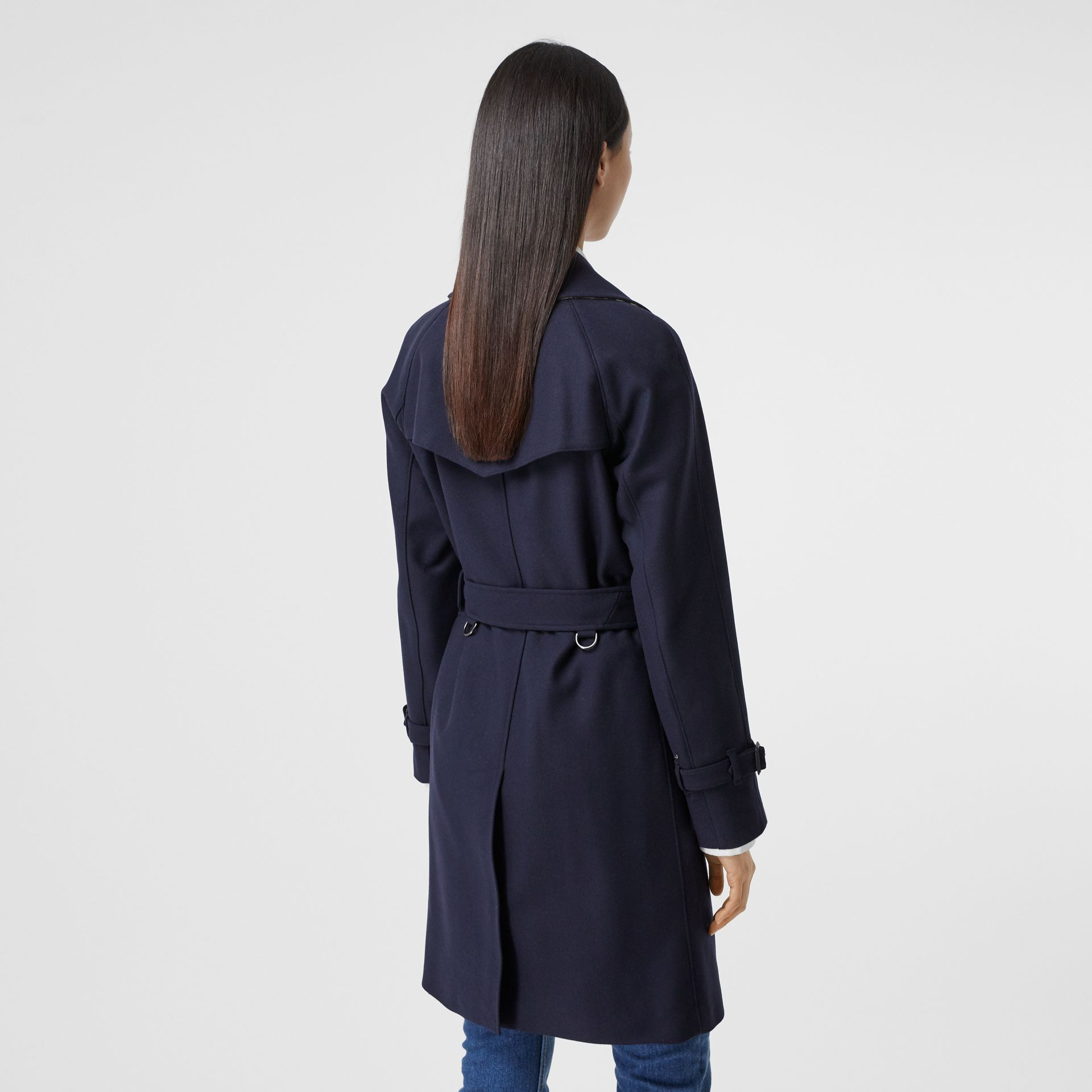 Herringbone Wool Cashmere Blend Trench Coat in Navy - Women | Burberry - gallery image 2