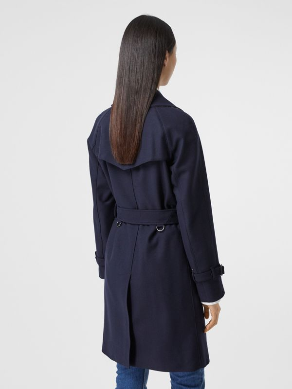 Herringbone Wool Cashmere Blend Trench Coat in Navy - Women | Burberry - cell image 2