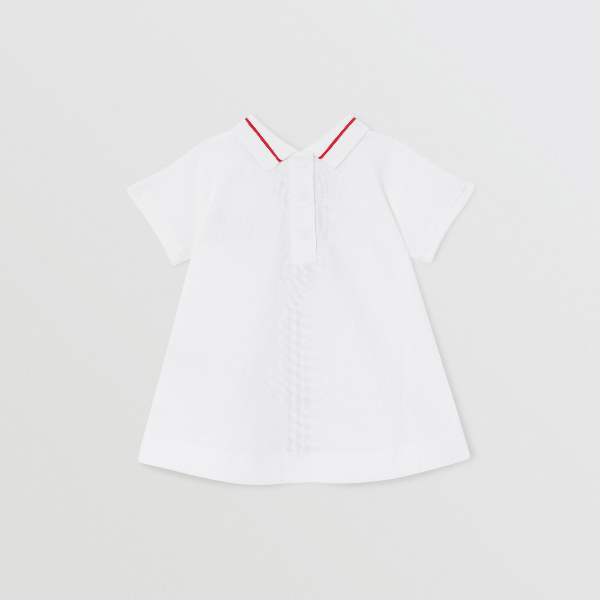 Monogram Stripe Cotton Piqué Dress with Bloomers in White - Children | Burberry Hong Kong S.A.R - gallery image 3