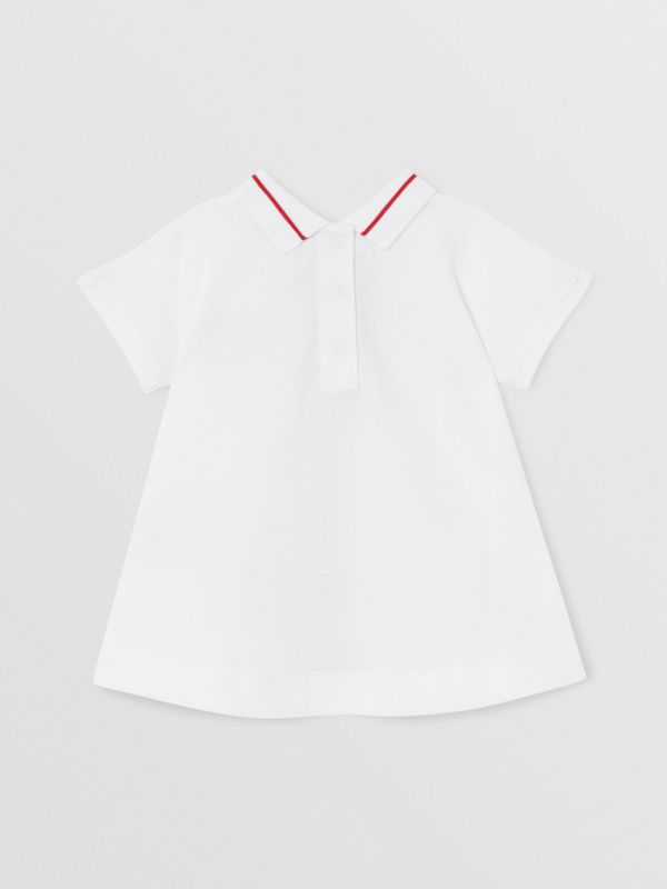 Monogram Stripe Cotton Piqué Dress with Bloomers in White - Children | Burberry Hong Kong S.A.R - cell image 3