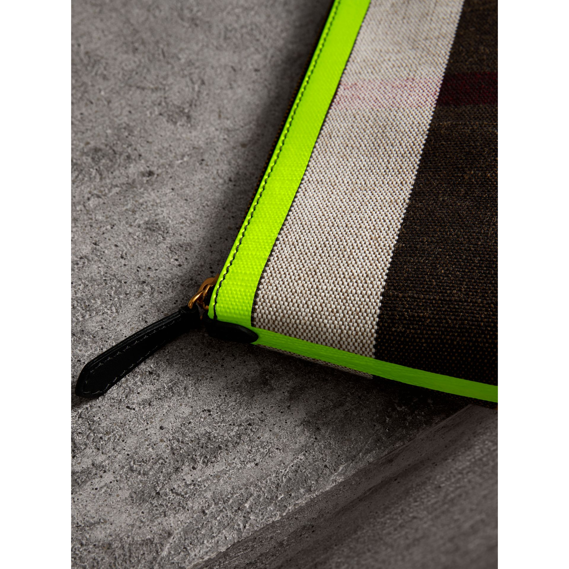 Medium Check Canvas and Leather Zip Pouch in Black/neon Yellow - Women | Burberry United Kingdom - gallery image 1