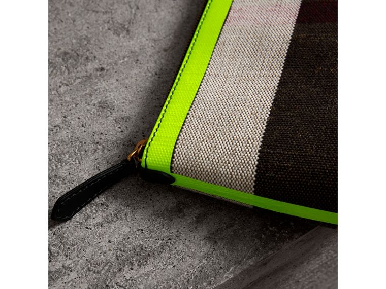 Medium Check Canvas and Leather Zip Pouch in Black/neon Yellow - Women | Burberry United Kingdom - cell image 1