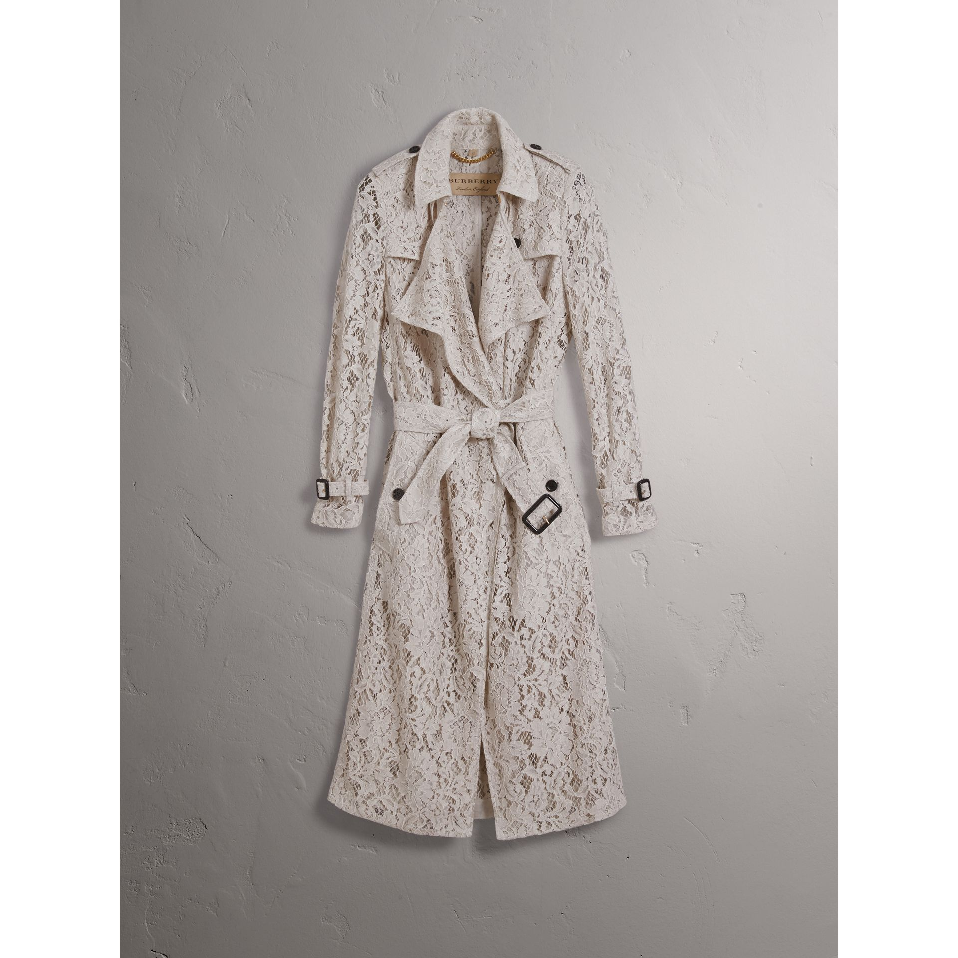 Macramé Lace Trench Coat in Pale Grey - Women | Burberry - gallery image 4