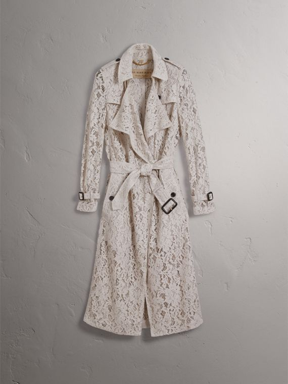 Macramé Lace Trench Coat in Pale Grey - cell image 3