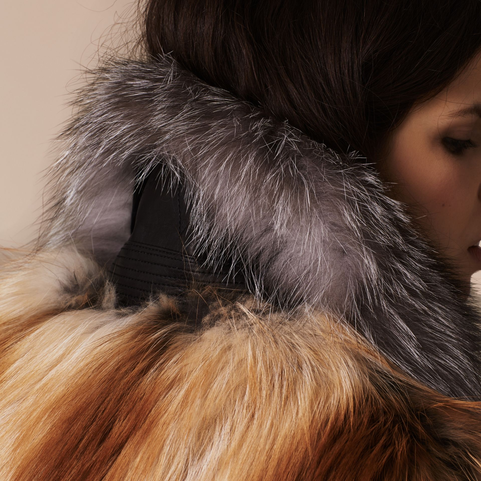 Bright toffee Fox Fur Gilet - gallery image 5