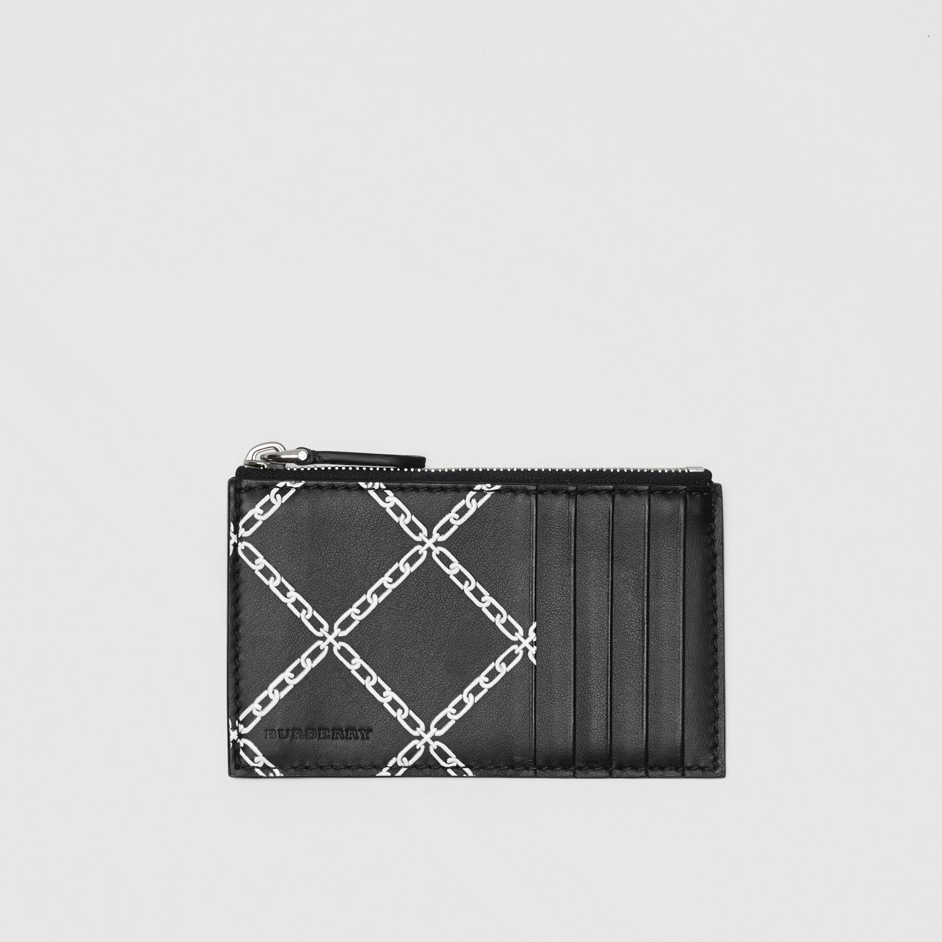Link Print Leather Card Case in Black - Men | Burberry - gallery image 0