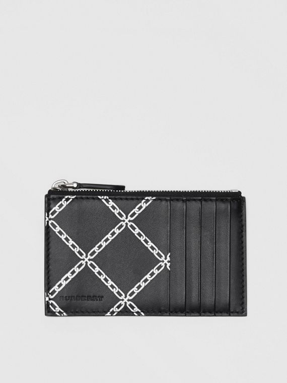 Link Print Leather Card Case in Black