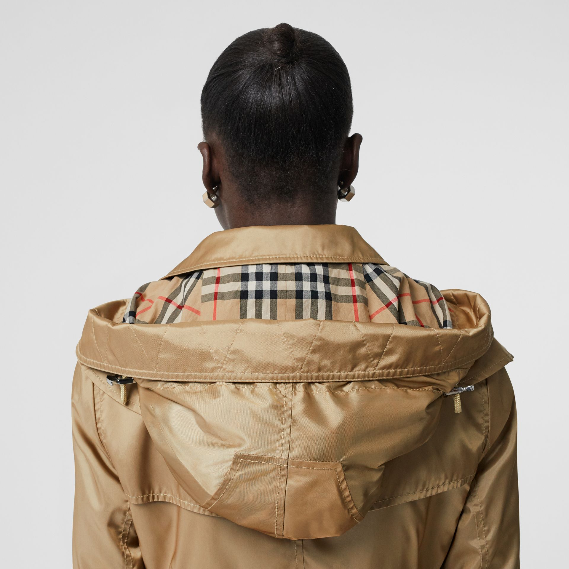 Detachable Hood ECONYL® Trench Coat in Honey - Women | Burberry United Kingdom - gallery image 5
