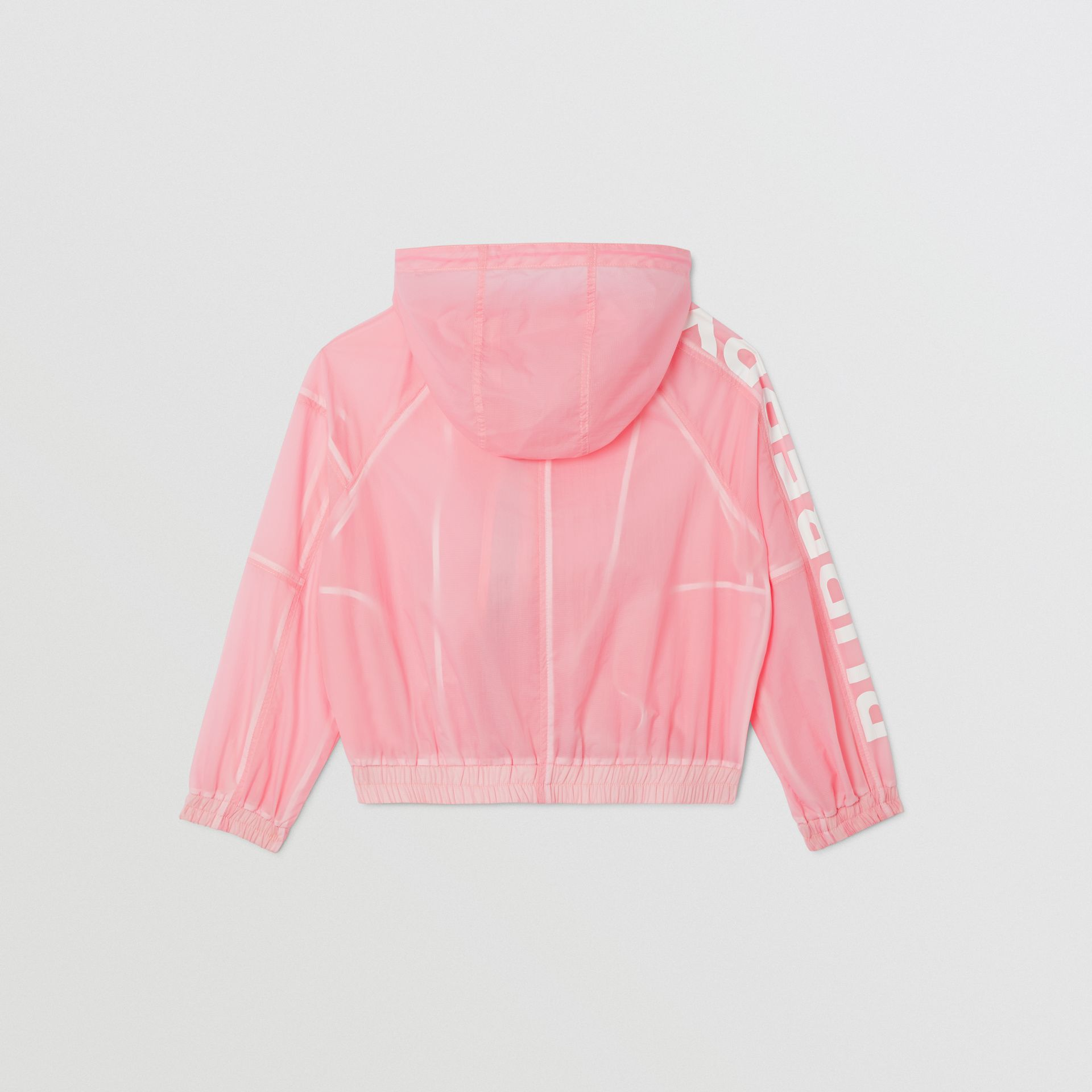 Star Detail Logo Print Lightweight Hooded Jacket in Candy Pink | Burberry - gallery image 3