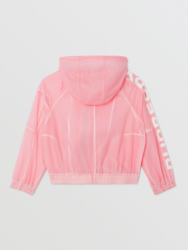 Star Detail Logo Print Lightweight Hooded Jacket in Candy Pink | Burberry - cell image 3