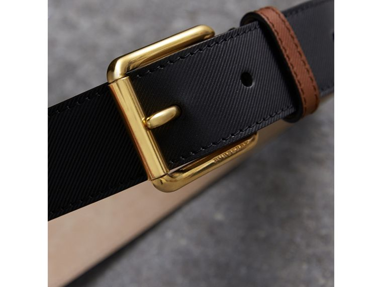 Two-tone Trench Leather Belt in Black - Men | Burberry - cell image 1