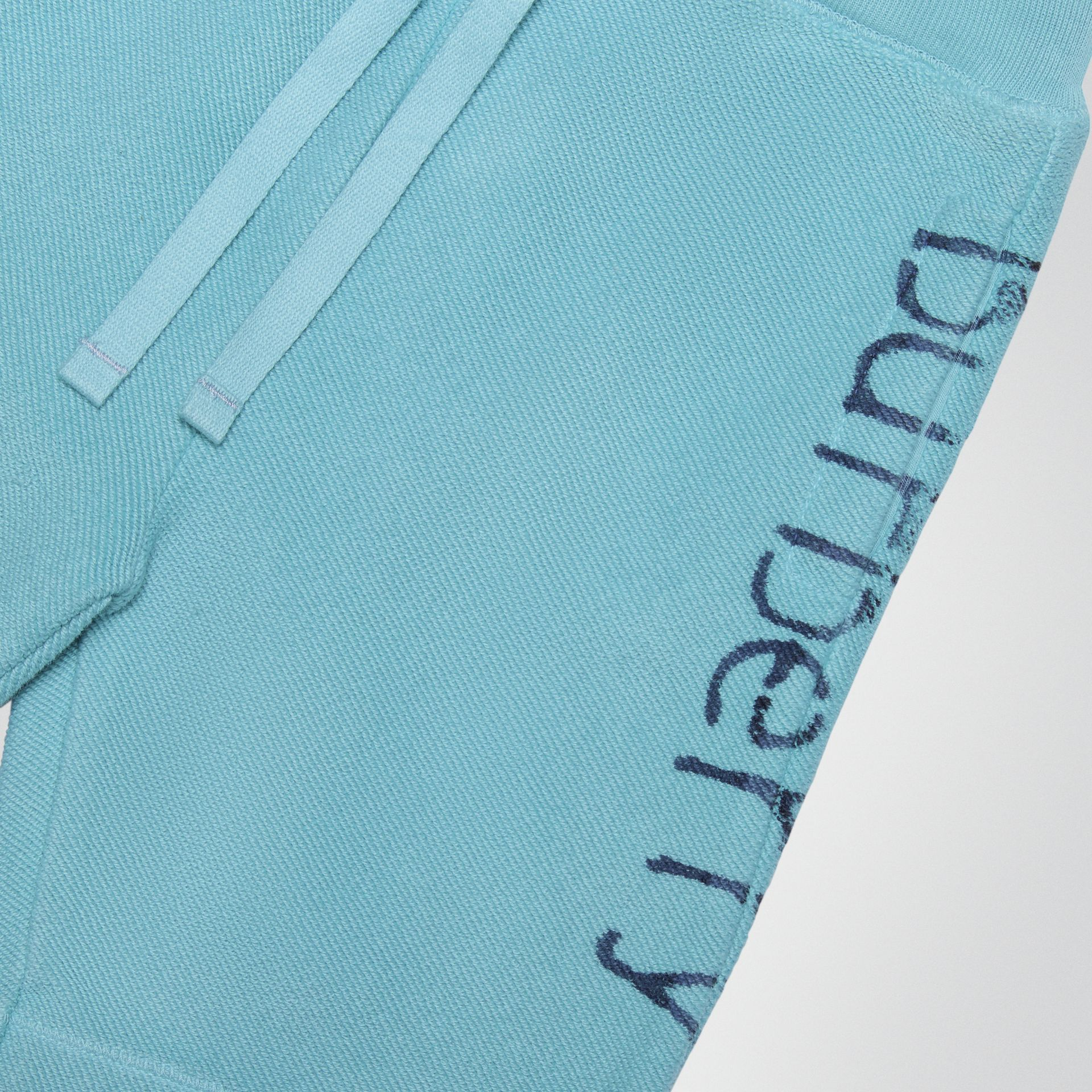 Stencil Logo Print Cotton Drawcord Shorts in Bright Cyan Blue - Children | Burberry - gallery image 1