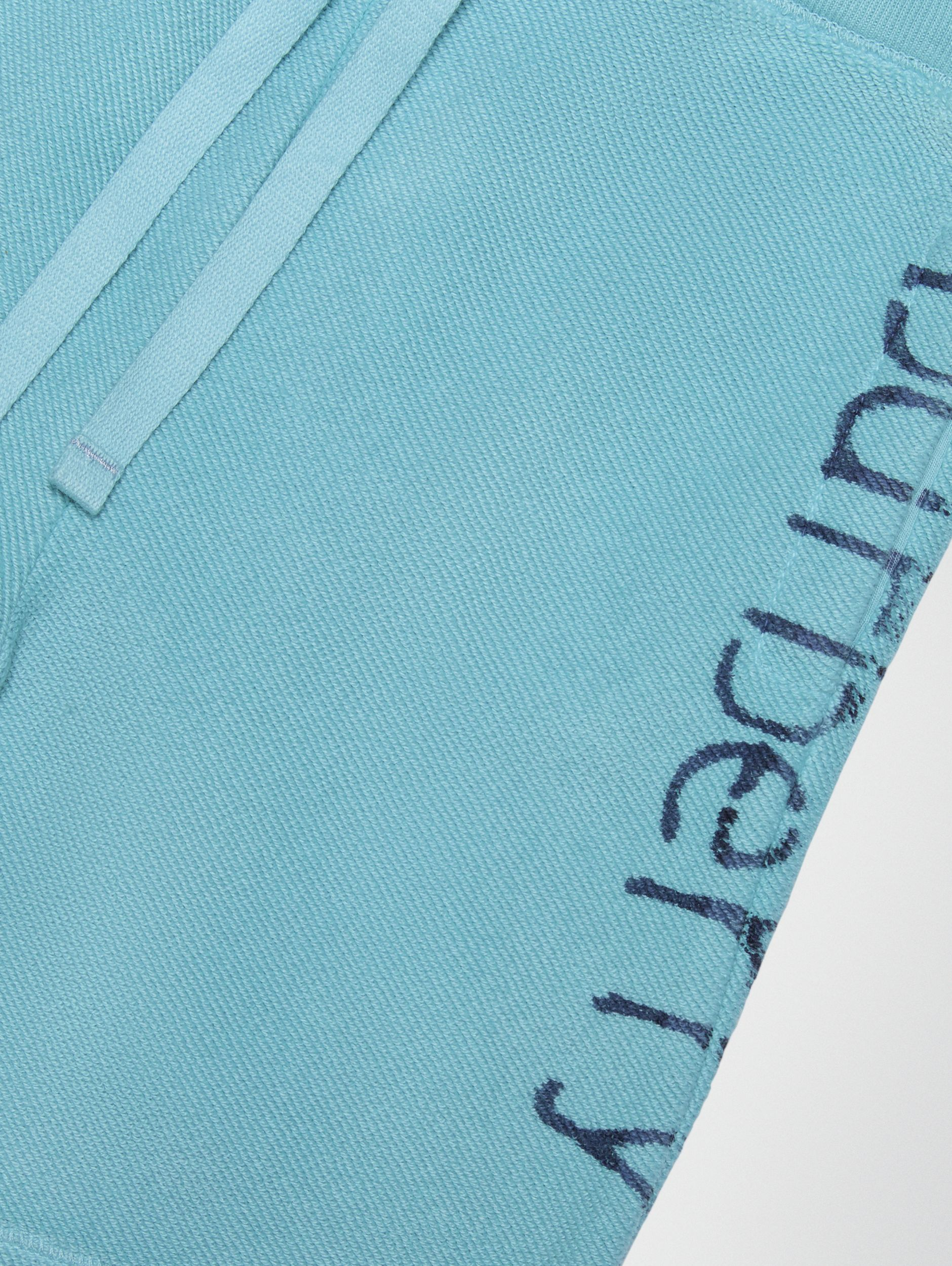 Stencil Logo Print Cotton Drawcord Shorts in Bright Cyan Blue - Children | Burberry - 2