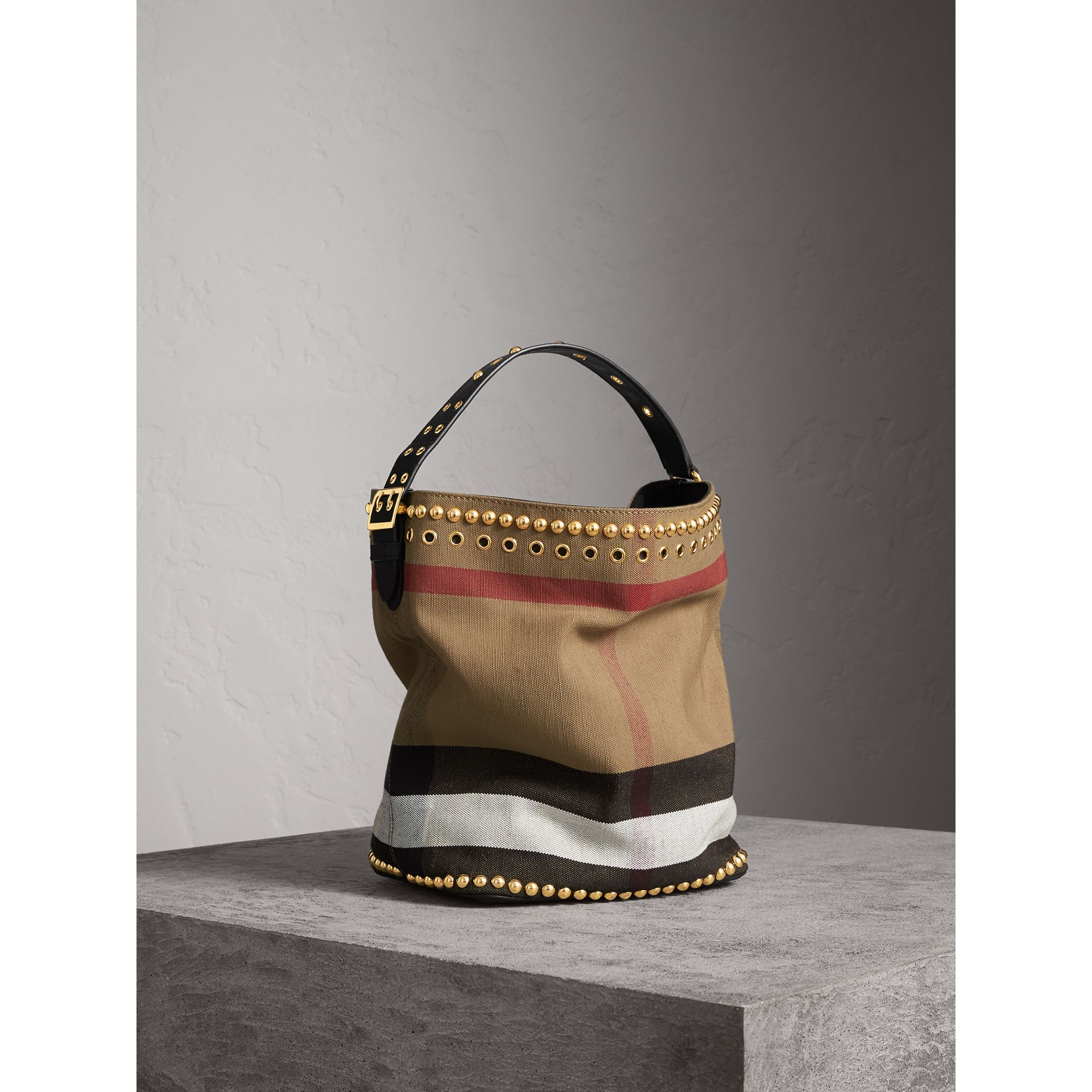 The Medium Ashby in Riveted Canvas Check and Leather - Women | Burberry - gallery image 7