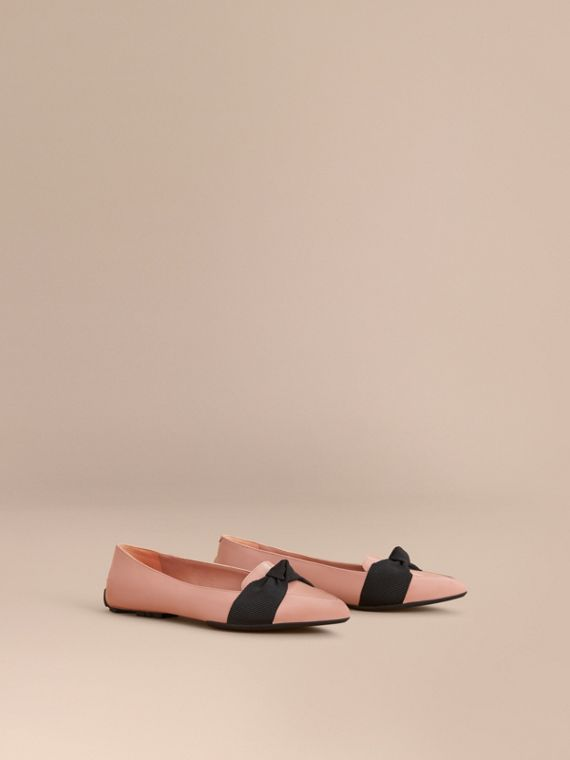 Grosgrain Bow Patent Leather Loafers Nude Pink