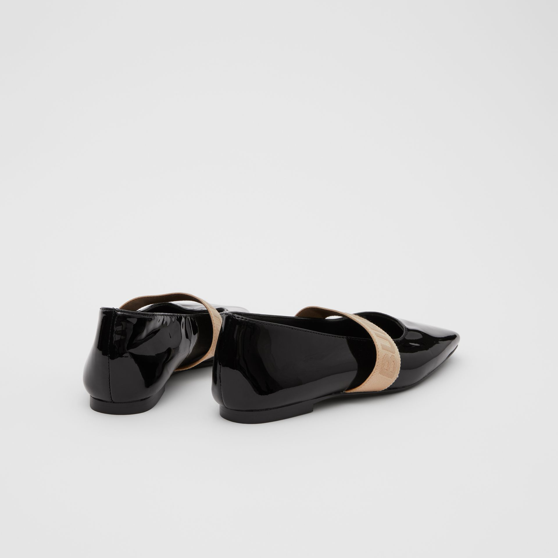 Logo Detail Patent Leather Flats in Black - Children | Burberry United States - gallery image 2