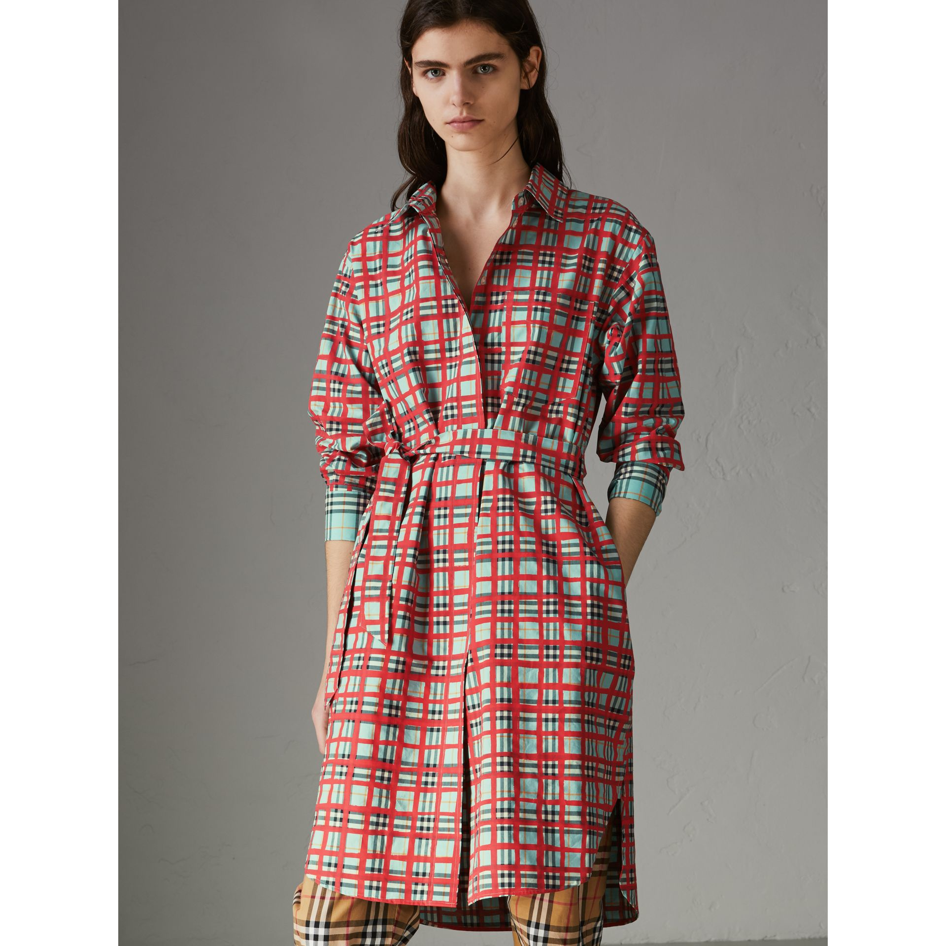 Painted Check Cotton Tie-waist Shirt Dress in Bright Aqua - Women | Burberry Singapore - gallery image 4