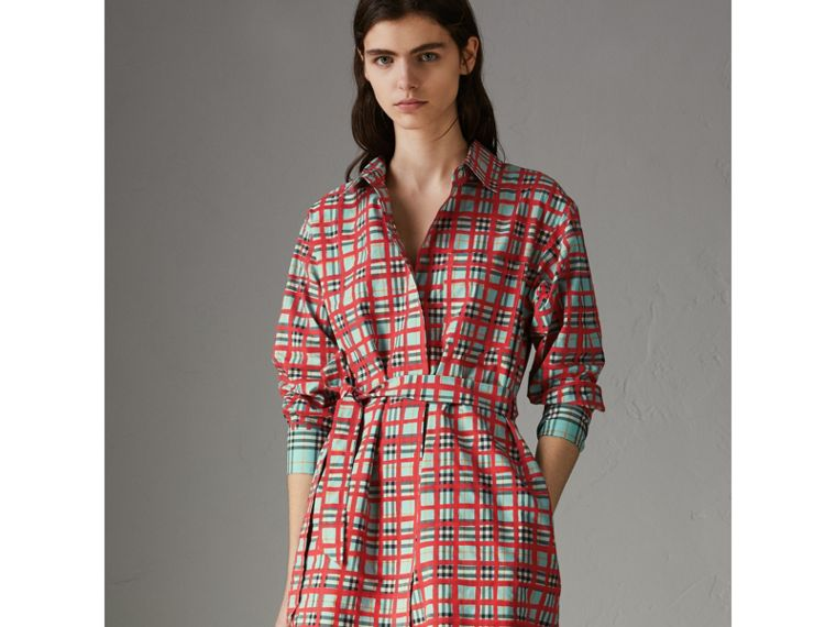 Painted Check Cotton Tie-waist Shirt Dress in Bright Aqua - Women | Burberry - cell image 4