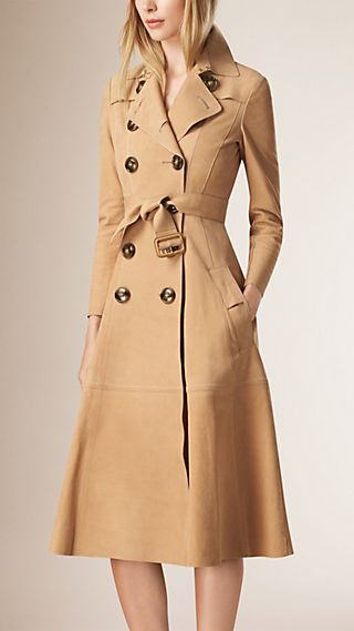 High Waist Nubuck Trench Coat