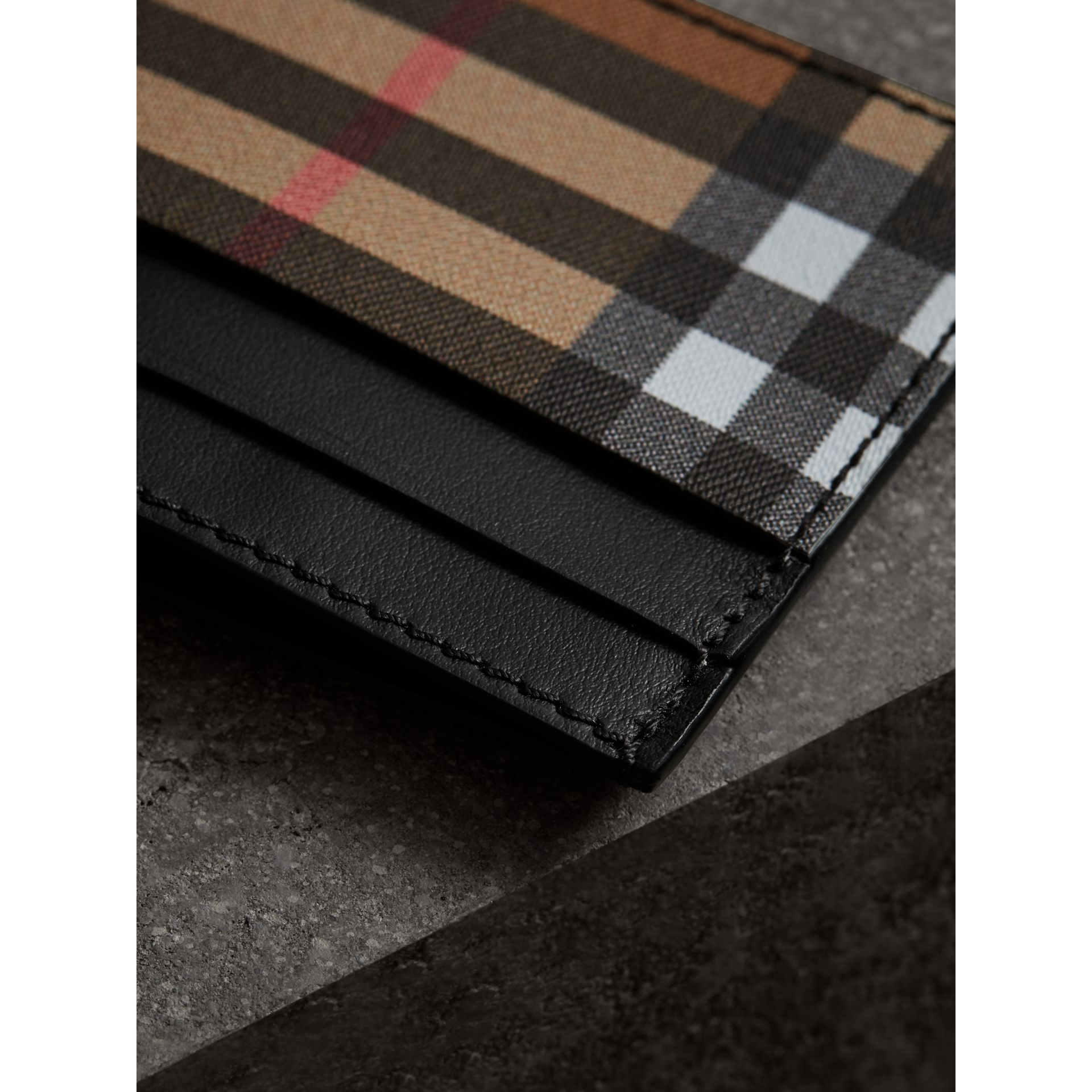 Vintage Check and Leather Card Case in Black | Burberry - gallery image 1