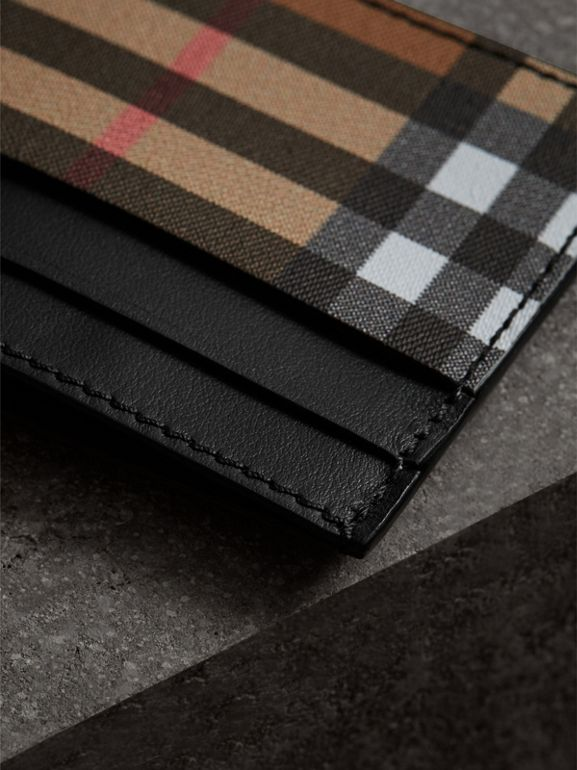 Vintage Check and Leather Card Case in Black | Burberry United States - cell image 1