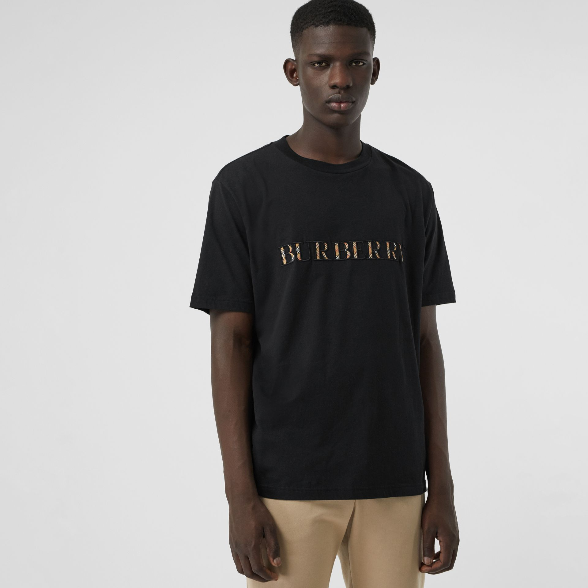 Check Logo Cotton T-shirt in Black - Men | Burberry - gallery image 0