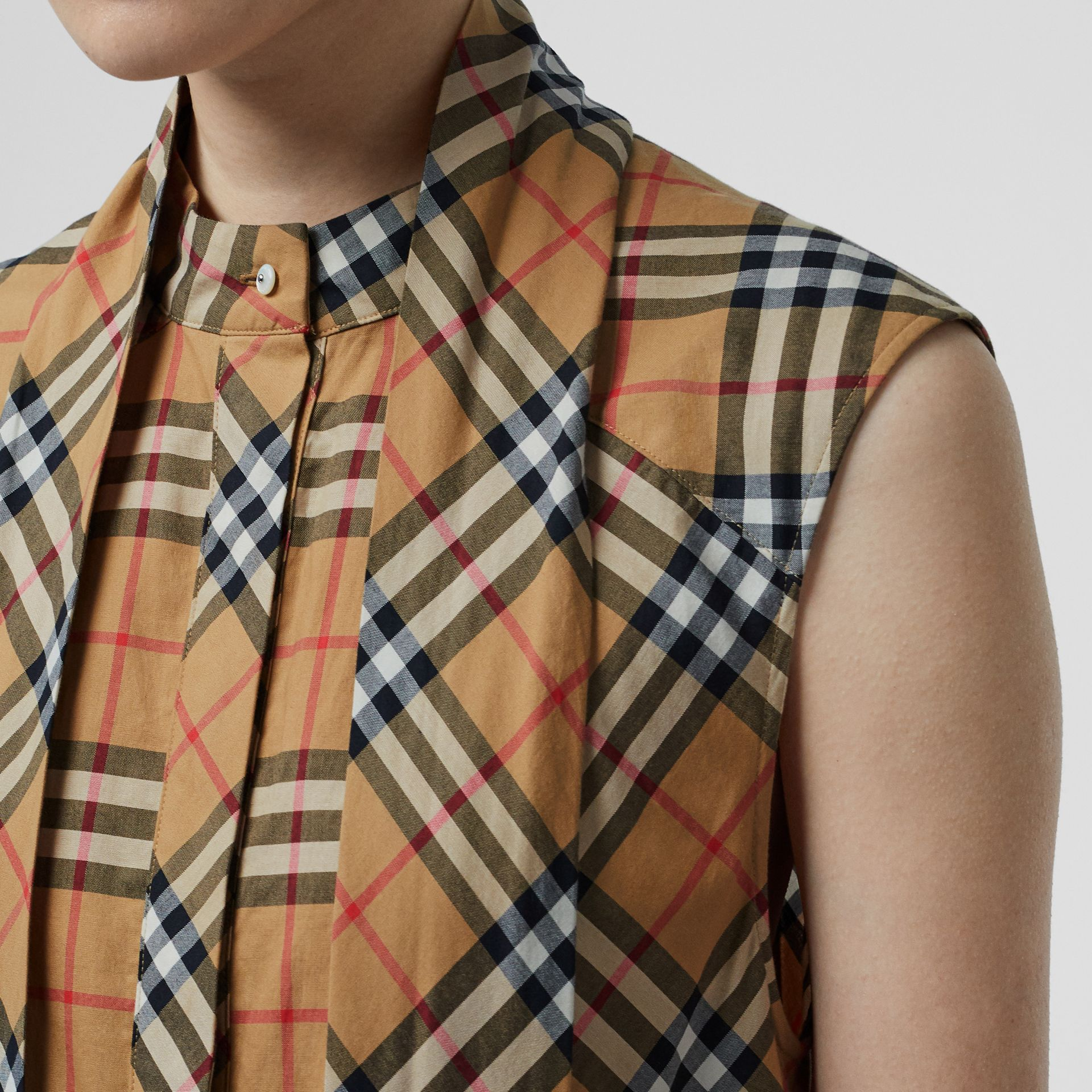 Vintage Check Cotton Tie-neck Dress in Antique Yellow - Women | Burberry - gallery image 1
