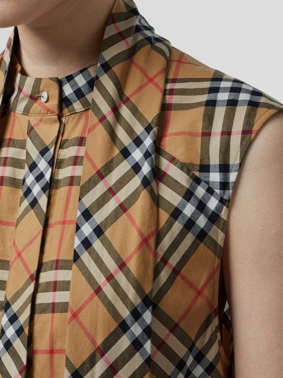 Vintage Check Cotton Tie-neck Dress in Antique Yellow - Women | Burberry - cell image 1