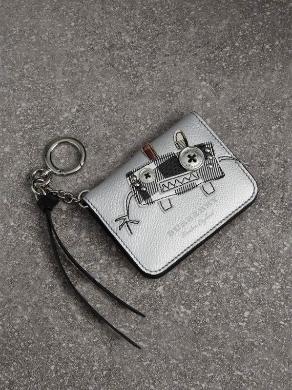 Creature Motif Metallic Leather ID Card Case Charm in Silver/multicolour