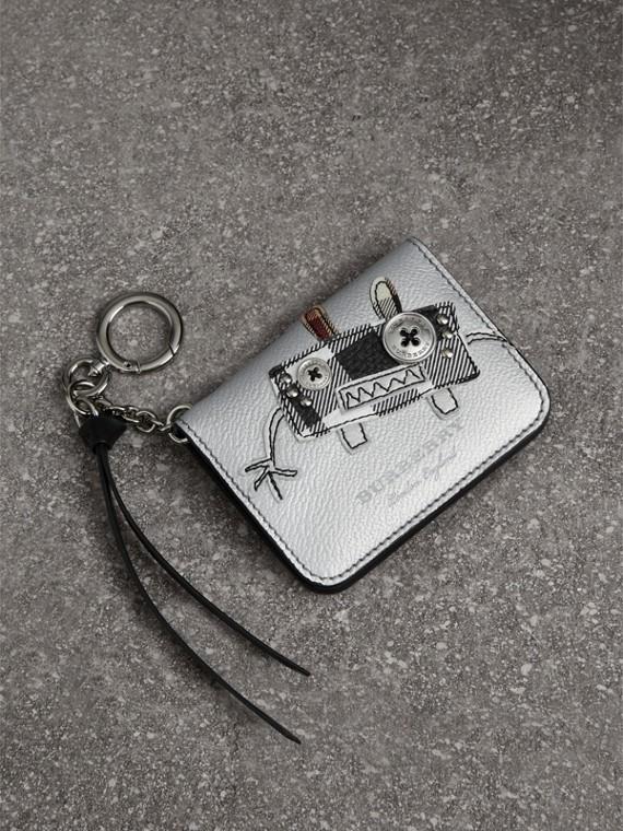 Porta-cartões de couro metalizado com motivo Creature (Prateado/multicolorido)