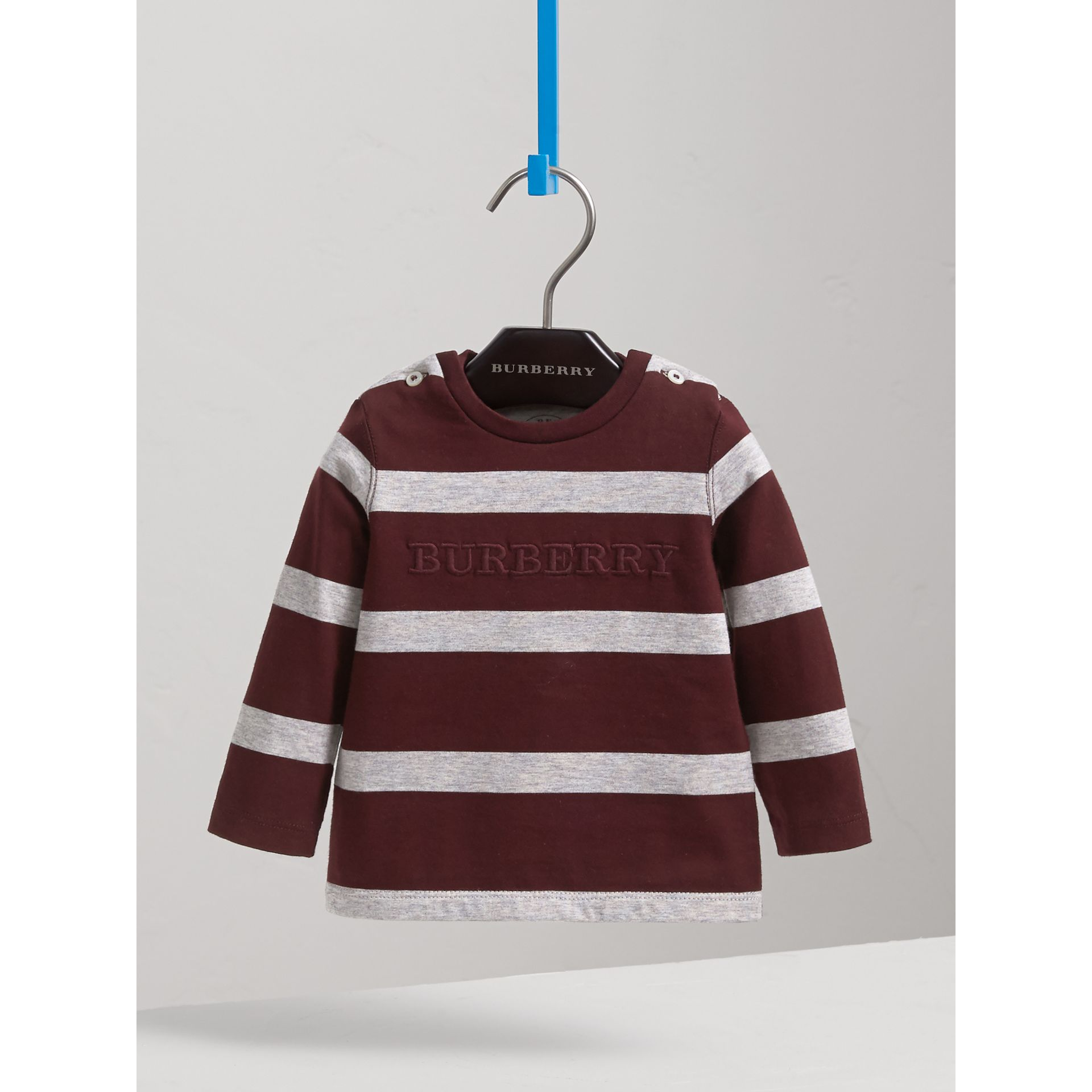 Long-sleeve Striped Cotton Top in Burgundy/grey Melange | Burberry Canada - gallery image 3