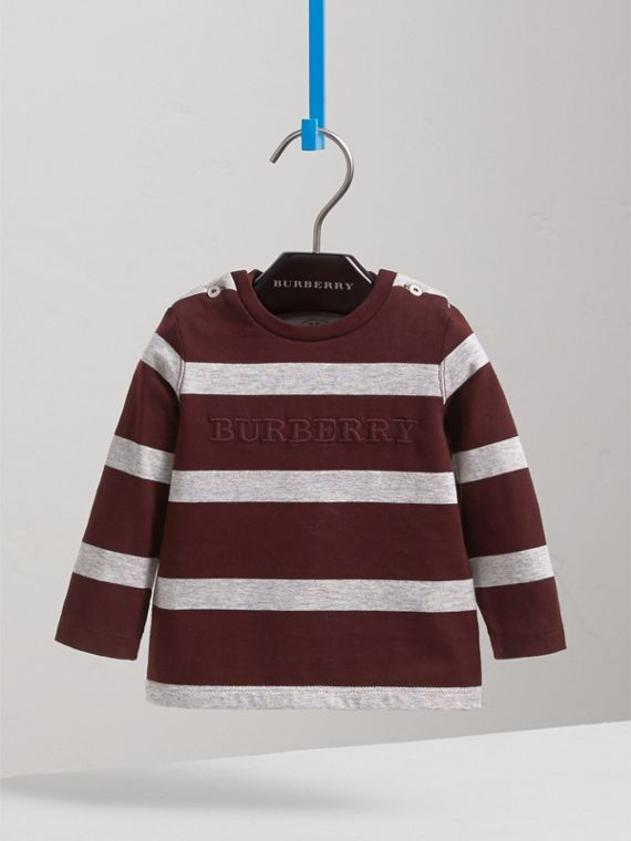 Long-sleeve Striped Cotton Top in Burgundy/grey Melange | Burberry Australia - cell image 2