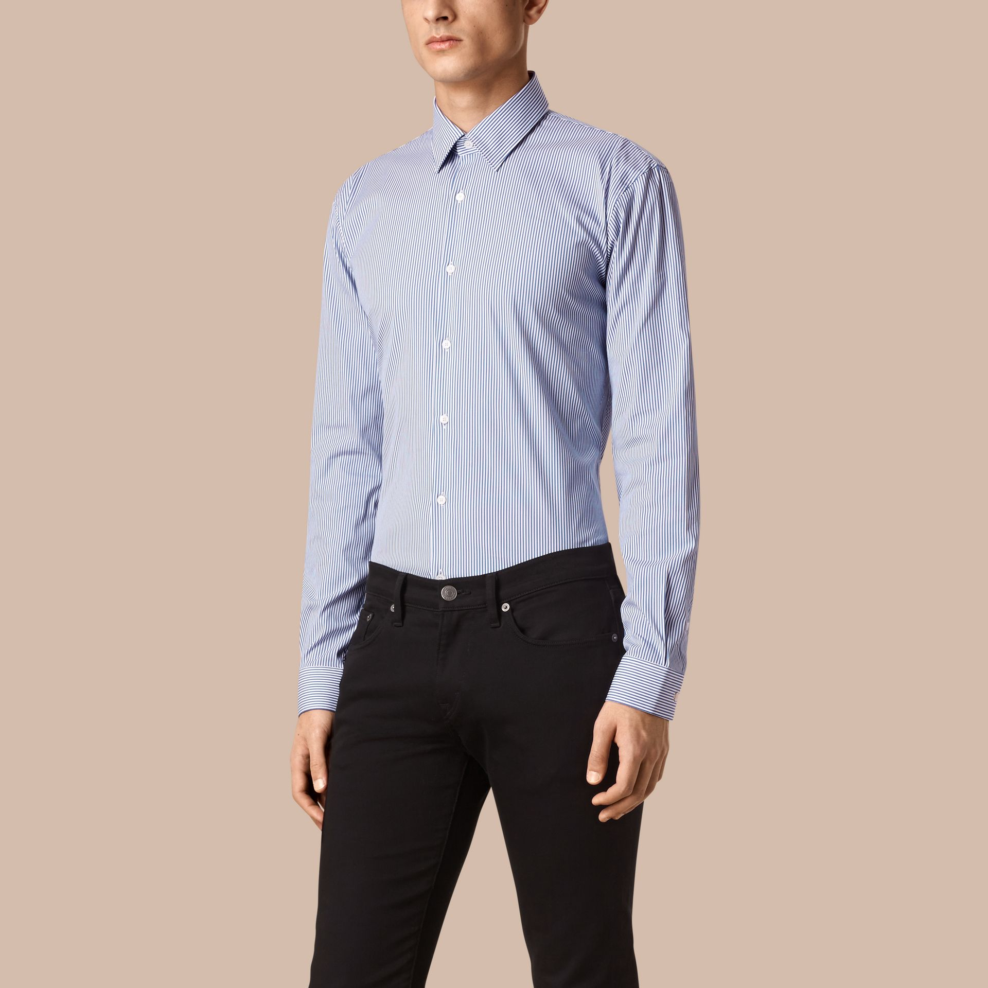 Mid blue Modern Fit Striped Stretch-cotton Shirt Mid Blue - gallery image 1