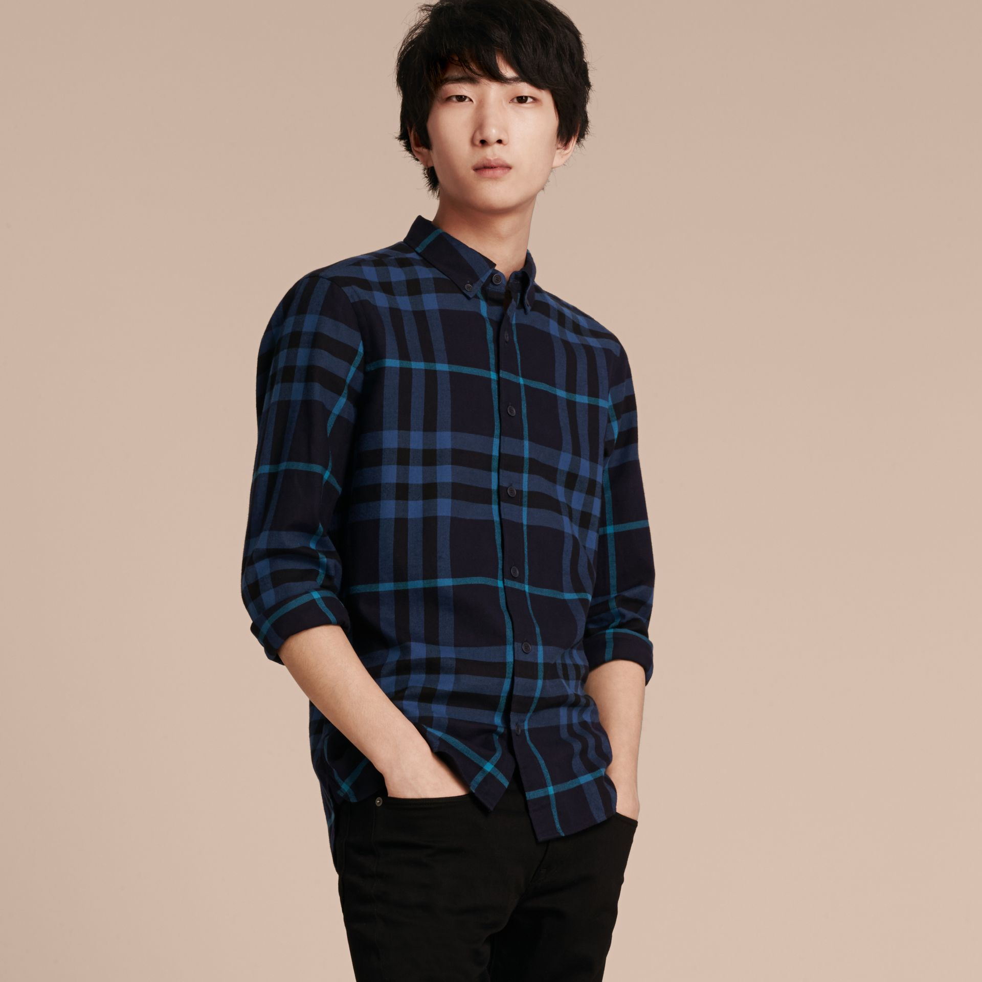 Bright navy Check Cotton Flannel Shirt Bright Navy - gallery image 6
