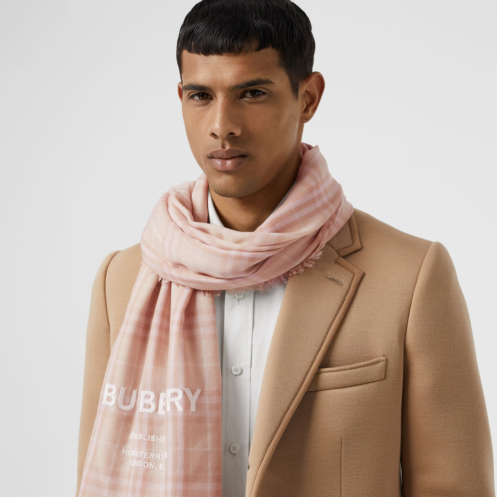 Embroidered Vintage Check Lightweight Cashmere Scarf in Soft Peach | Burberry United States - gallery image 3