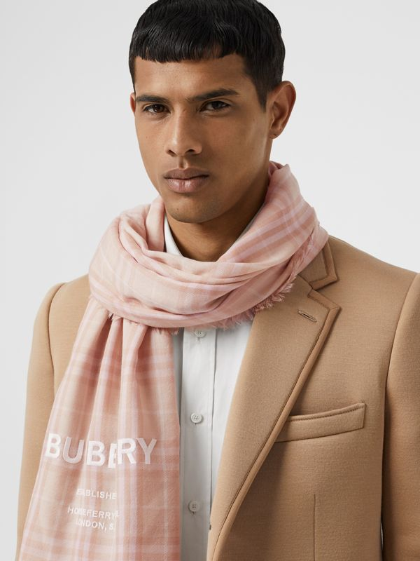 Embroidered Vintage Check Lightweight Cashmere Scarf in Soft Peach | Burberry - cell image 3