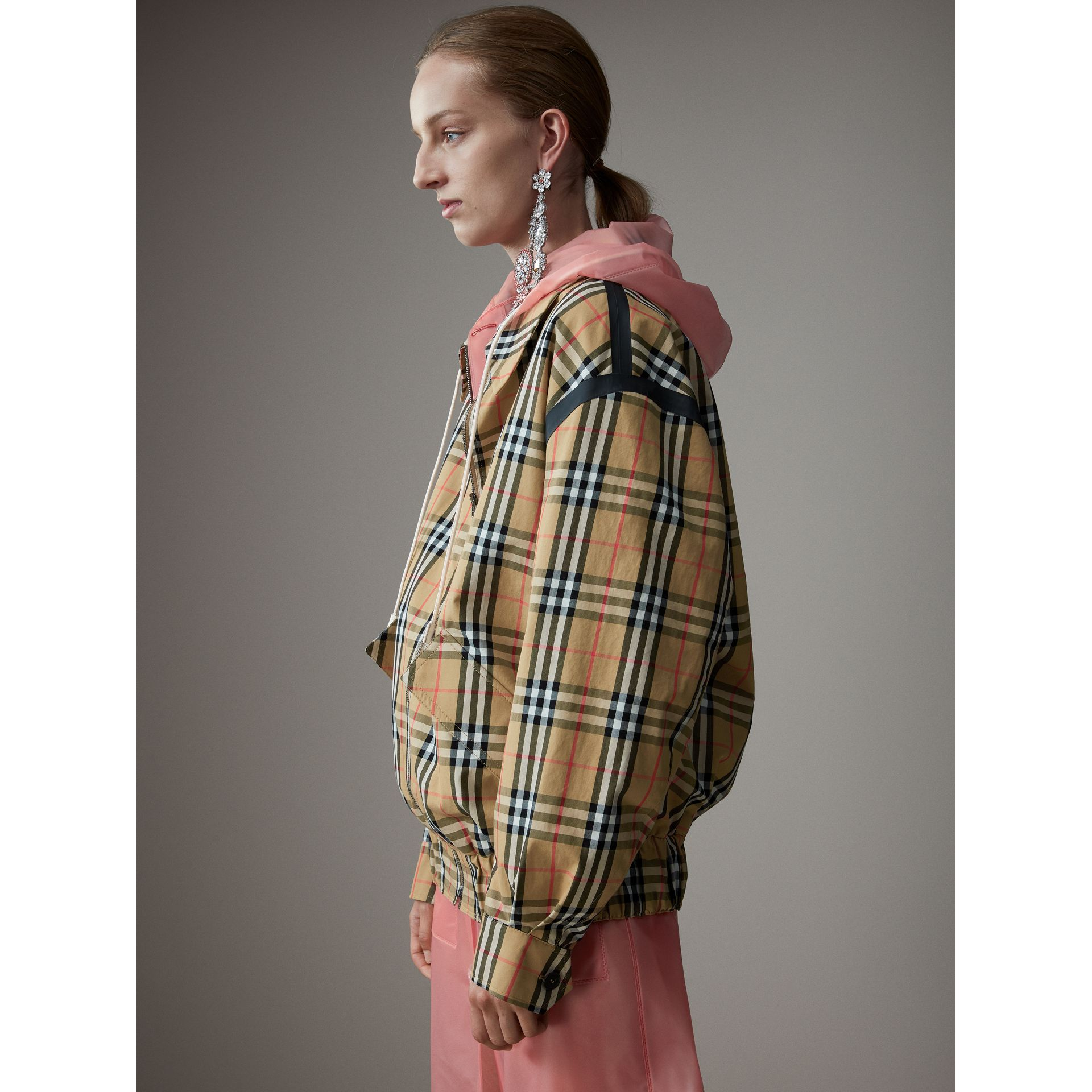 Vintage Check Gabardine Harrington Jacket in Antique Yellow - Women | Burberry - gallery image 5