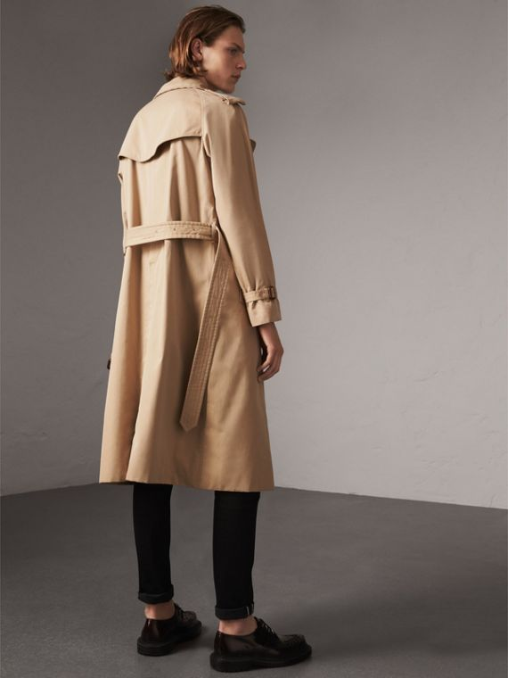 Bird Button Cotton Gabardine Trench Coat in Honey - Men | Burberry Singapore - cell image 2