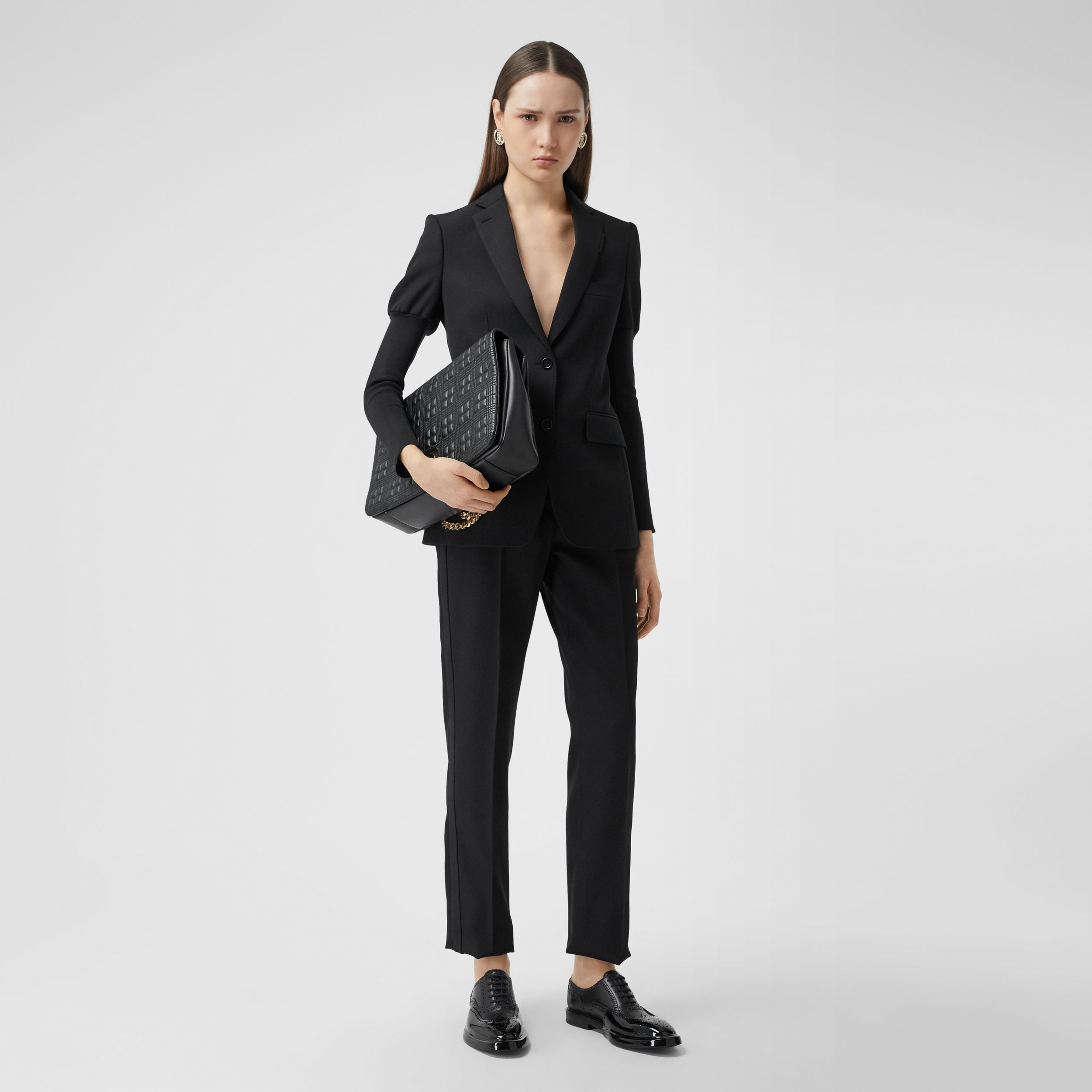 Panelled-sleeve Grain De Poudre Wool Blazer in Black - Women | Burberry - 1