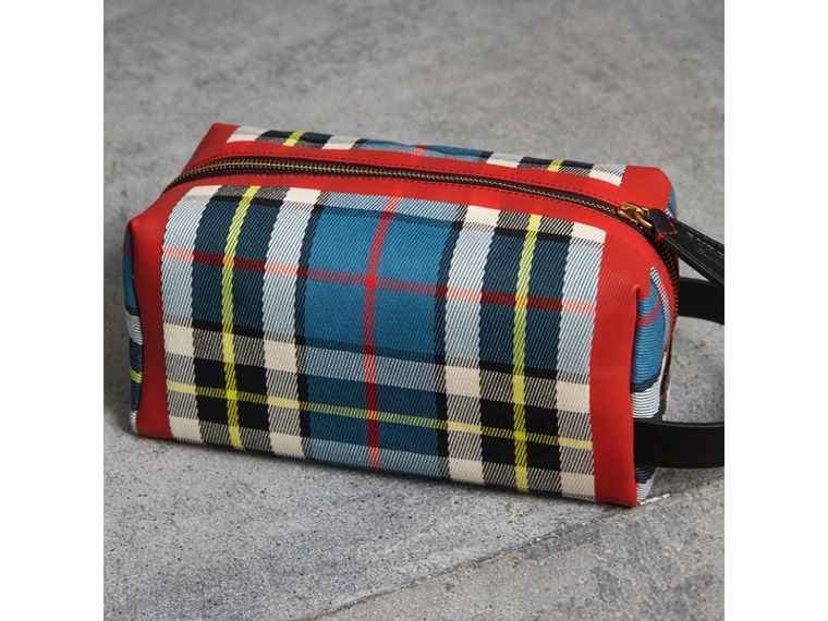 Beauty case in cotone con motivo tartan (Blu) | Burberry - cell image 4