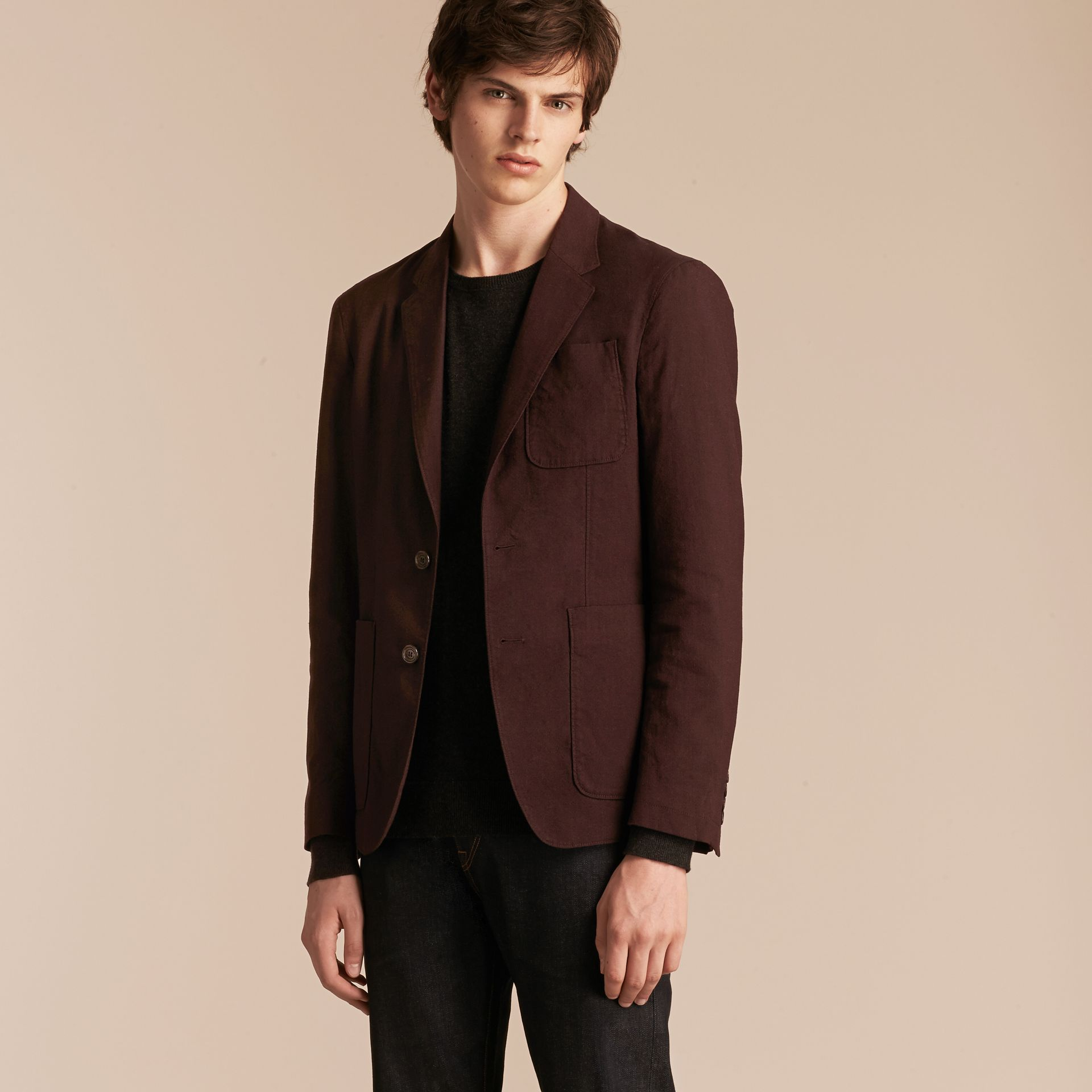 Deep claret Patch Pocket Cotton Wool Blend Tailored Jacket - gallery image 6