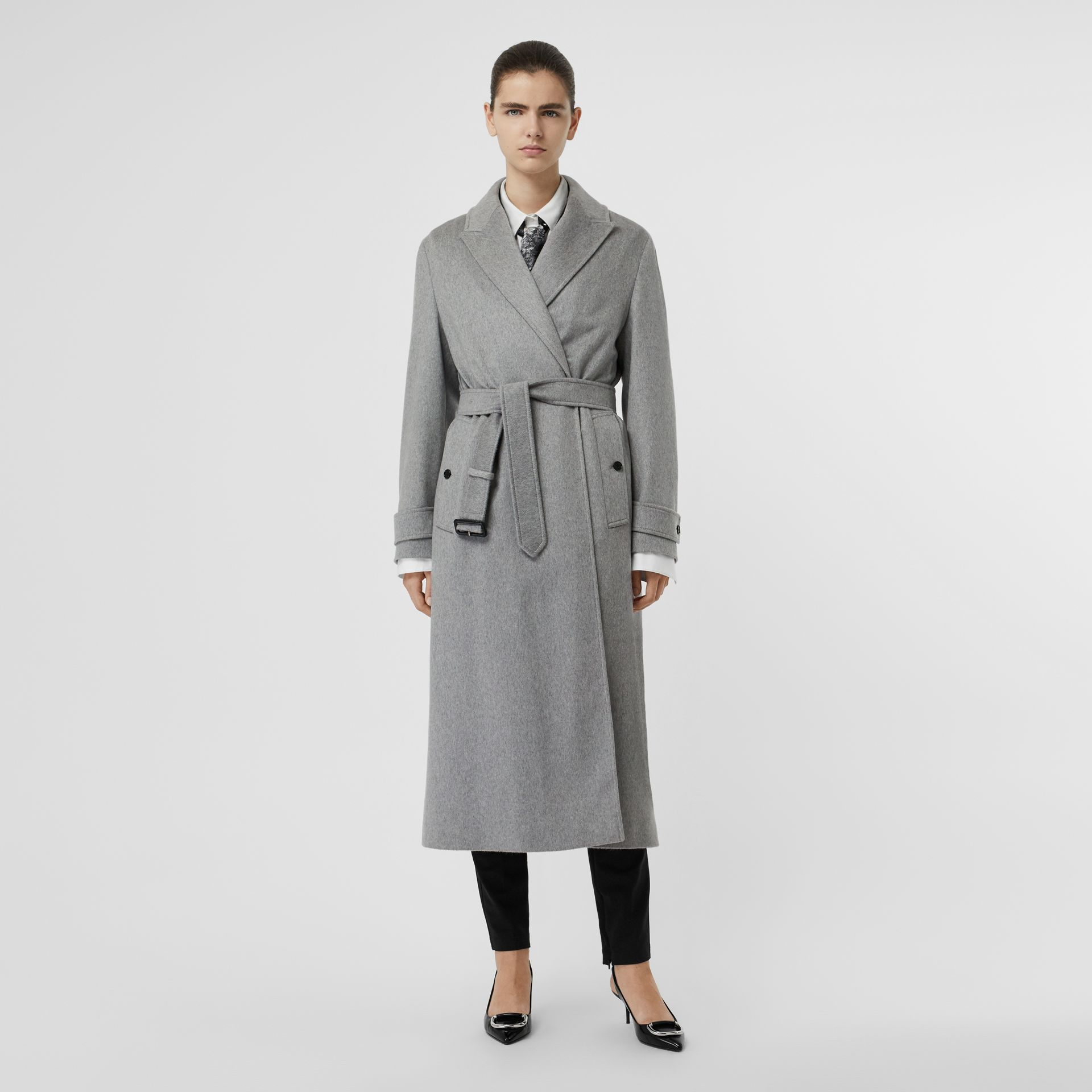 Peak Lapel Cashmere Wrap Coat in Pale Grey Melange - Women | Burberry - gallery image 0