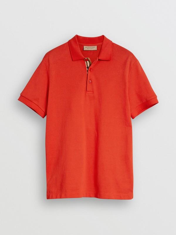 Polo en coton avec détail check (Rouge Vif) - Homme | Burberry Canada - cell image 3